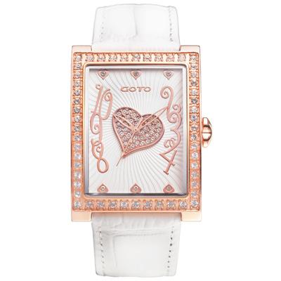 GOTO 浪漫甜心系列腕錶-IP玫x白/34mm