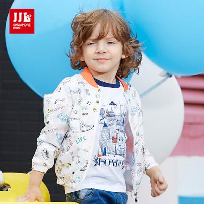 JJLKIDS 男孩手繪世界棒球外套(白色)