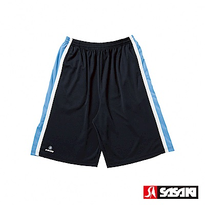 SASAKI 長效性吸排籃球短褲-男-黑/鮮藍-防疫居家運動首選