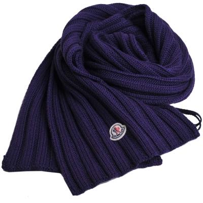 MONCLER 經典品牌圖騰羊毛直紋造型圍巾(深紫色)