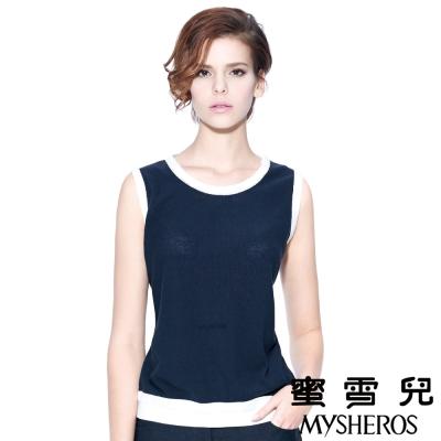 蜜雪兒mysheros-純棉圓領雙色針織背心上衣