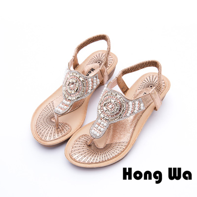 Hong Wa - 性感埃及寶石鑽飾時尚涼鞋 - 金