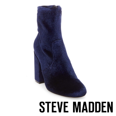 STEVE MADDEN-GAZE 拉鍊粗高跟短筒靴-絨深藍