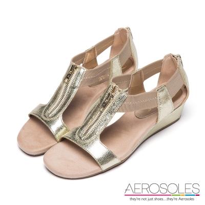 AEROSOLES-金屬爆裂紋I字繫帶小坡跟涼鞋-名媛金色