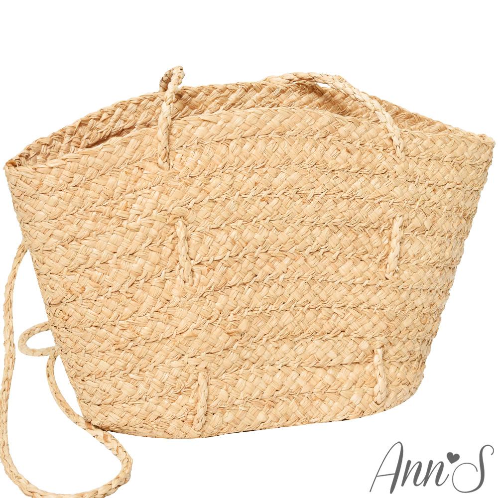 Ann'S海島渡假-全素面長肩背帶手工竹籃包-米