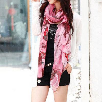 ACUBY-時尚花漾薄圍巾-粉