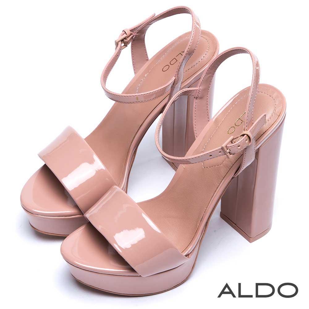 ALDO 原色寬版一字方形繫踝粗高跟涼鞋~名媛粉色