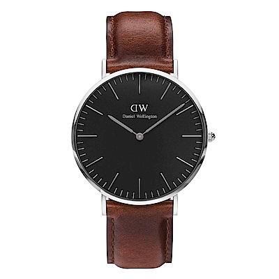 DW Daniel Wellington 都會腕錶-銀框/40mm(DW00100130)