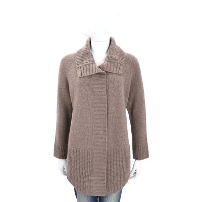 Max Mara-WEEKEND 咖啡灰織紋拼接羊毛針織外套(100%WOOL)