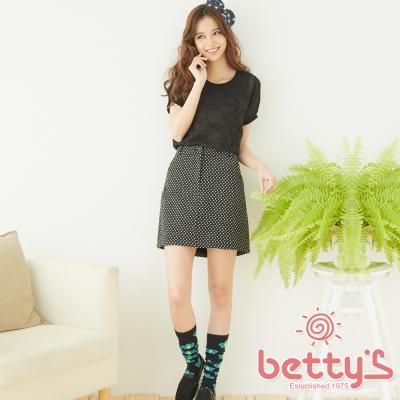betty-s貝蒂思-混羊毛圓點拉鍊短裙-黑色
