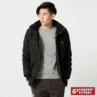 5th STREET 多口袋舖棉連帽外套-男-黑色