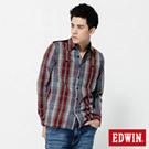 EDWIN 設計主軸 條絨拼格紋長袖襯衫-男款(灰色)
