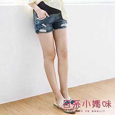 日系小媽咪孕婦裝-孕婦褲~蕾絲口袋不修邊抓破牛仔短褲 M-XXL