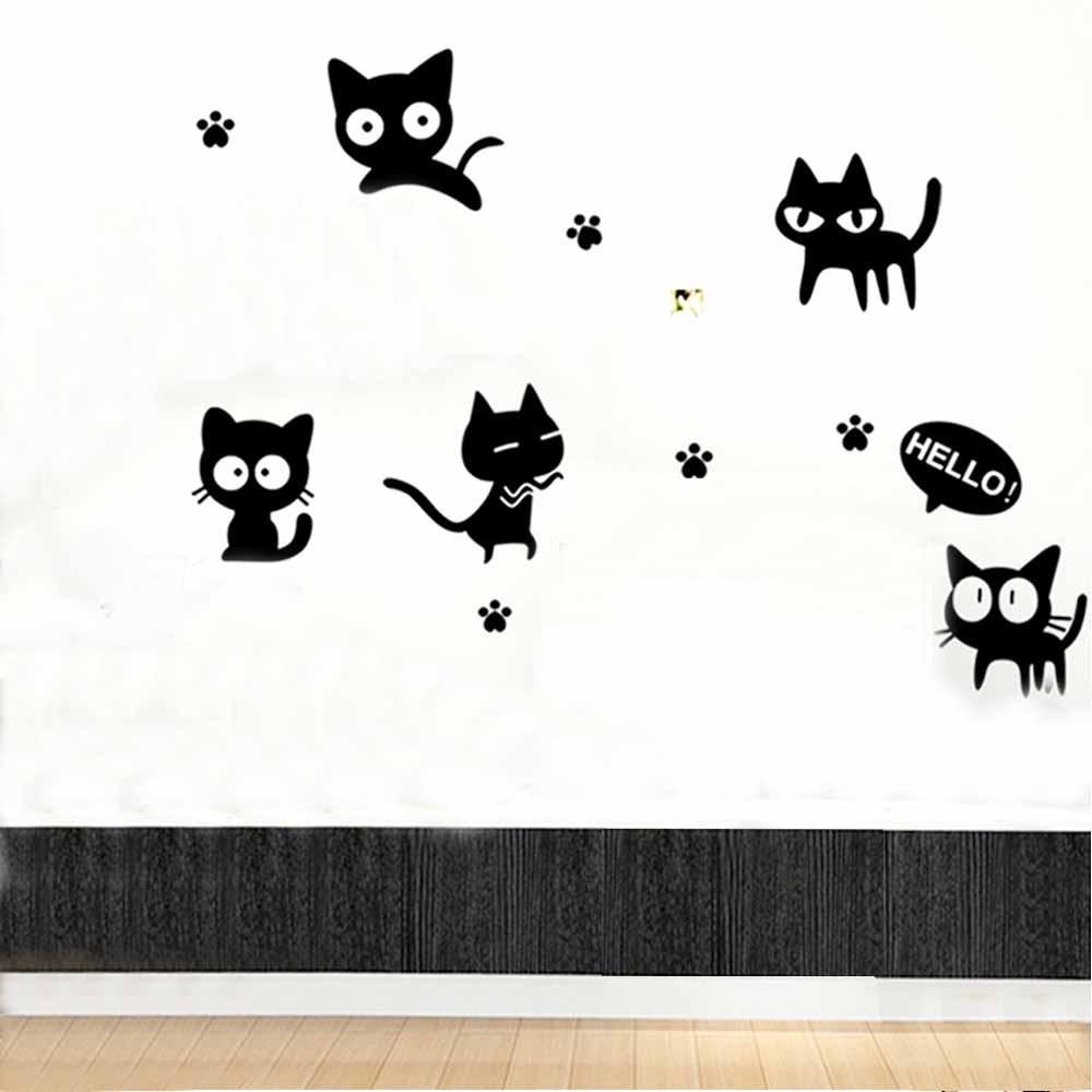 C-001 手繪動物系列-淘氣貓 大尺寸高級創意壁貼 / 牆貼