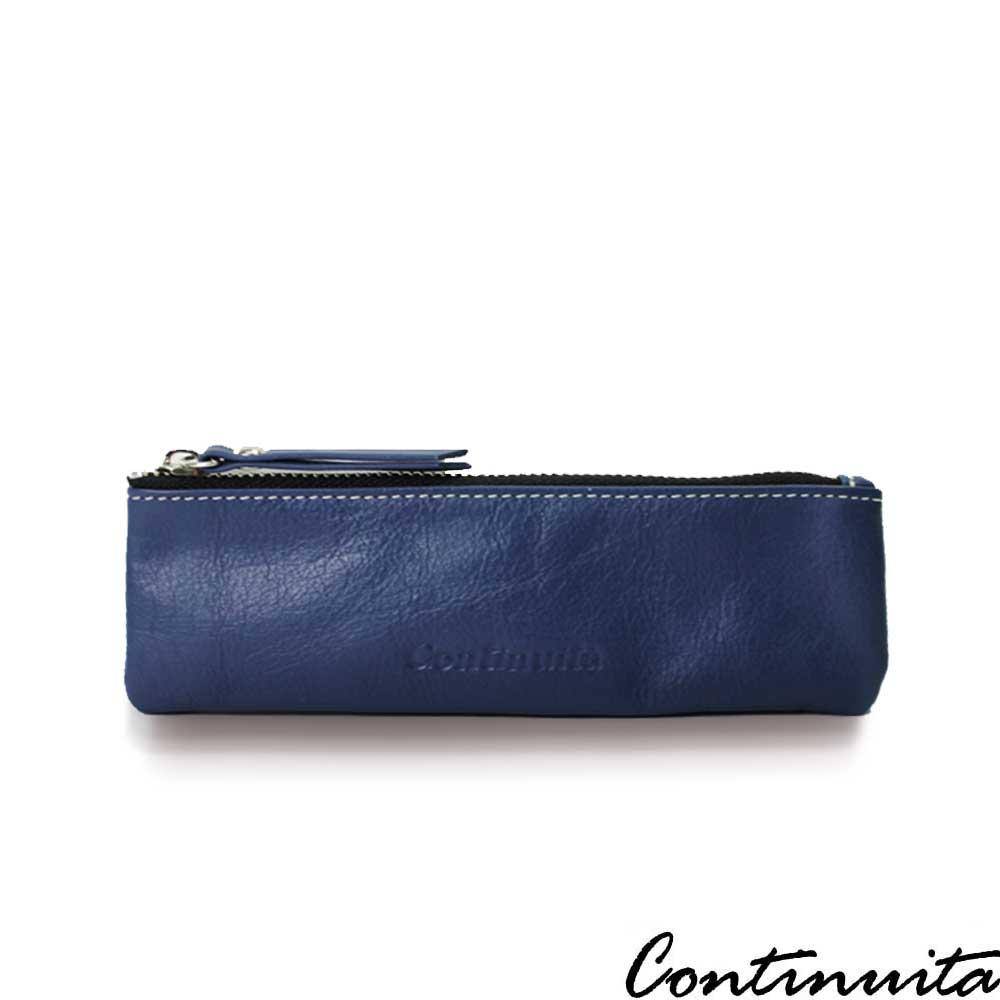 Continuita 康緹尼 頭層牛皮日本文青女孩素面扁平筆袋-深藍色