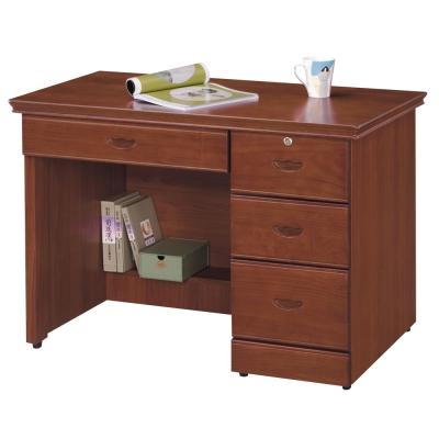 時尚屋 長榮柚木色3.5尺書桌 寬105cm