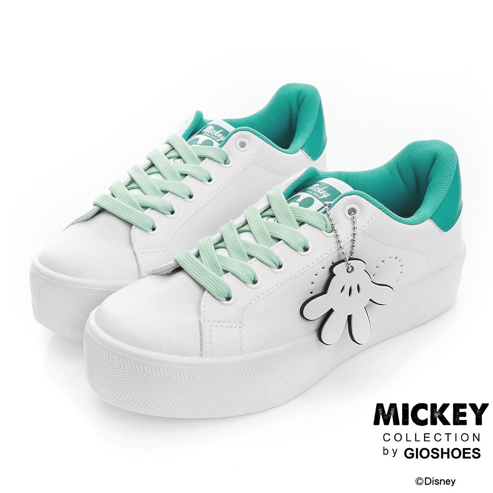DISNEY 甜漾氛圍 米奇手套吊飾厚底休閒鞋-白綠(女)
