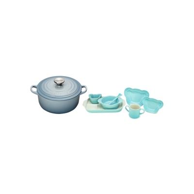 琺瑯鑄鐵圓鍋-16cm-海岸藍-嬰兒餐桌用具套組-7入-粉彩藍