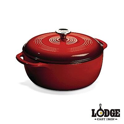 Lodge 鑄鐵琺瑯鍋6Q/5.7公升(艷陽紅)