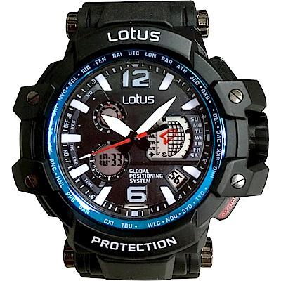 Lotus 飛行錶風格 計時鬧鈴運動錶(LS-1070-15)-藍黑/50mm