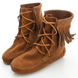 MINNETONKA 深棕色麂皮單層流蘇 中筒靴 經