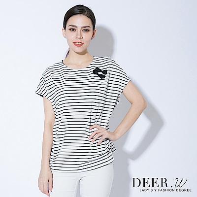DEER.W 蝴蝶結連袖條紋彈性上衣(白色)