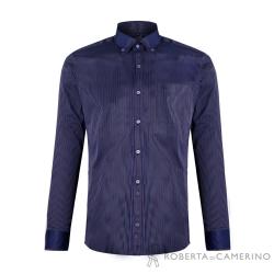 ROBERTA諾貝達 台灣製 合身版 雙色條紋配色領長袖襯衫 藍色