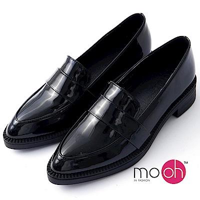 mo.oh -尖頭漆皮英倫復古樂福鞋-黑色
