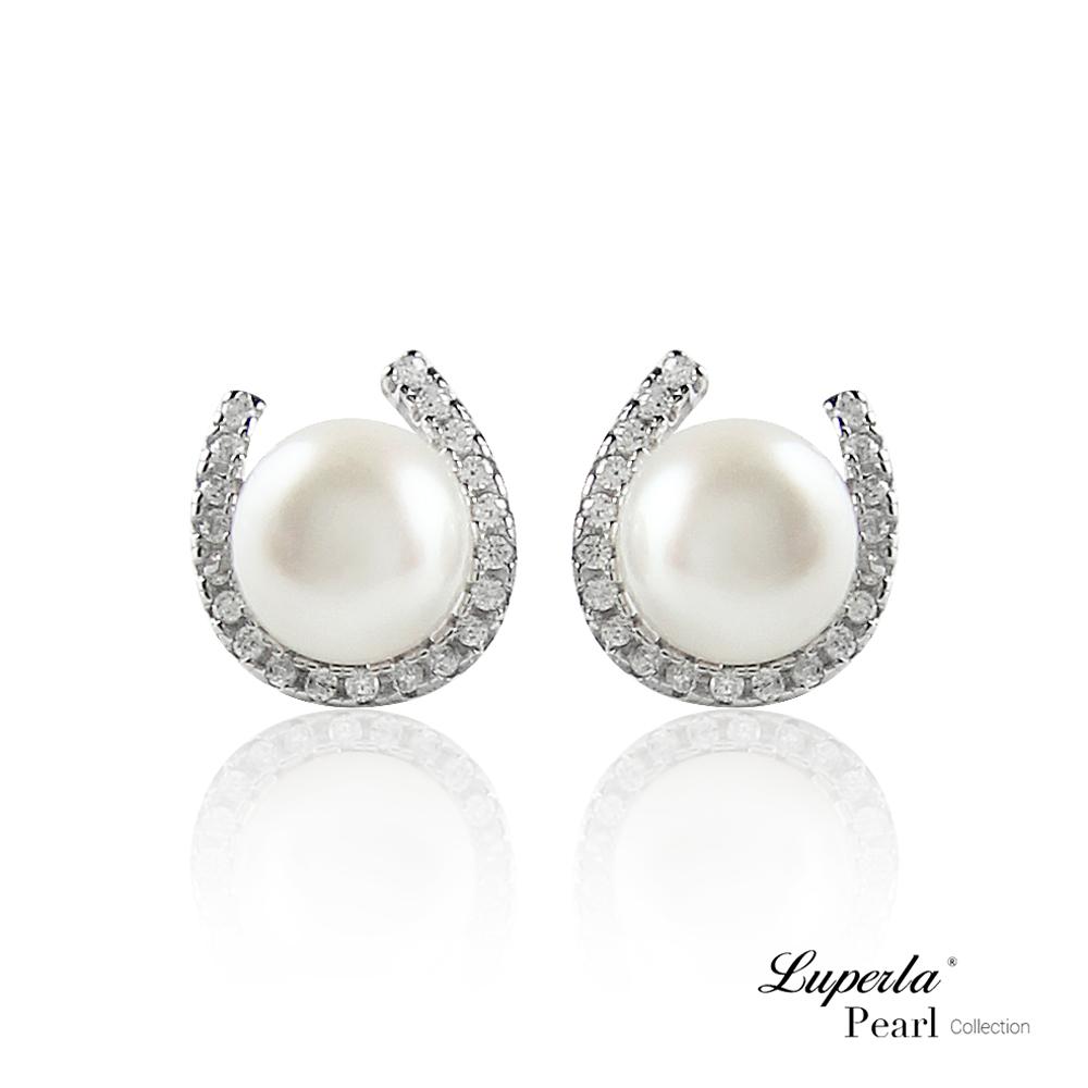 【大東山珠寶】淡水珍珠純銀晶鑽耳環 燦爛月光