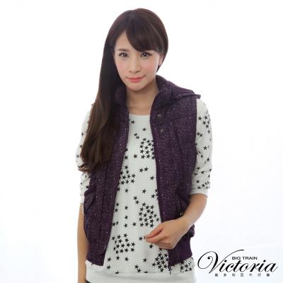 Victoria-印紋絲棉背心-女-紫紋