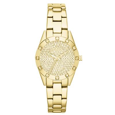 DKNY 璀璨靈魂晶鑽時尚腕錶-金/28mm