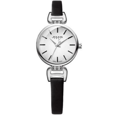JULIUS聚利時 絲柔曙光簡約皮革錶帶腕錶-黑/26mm