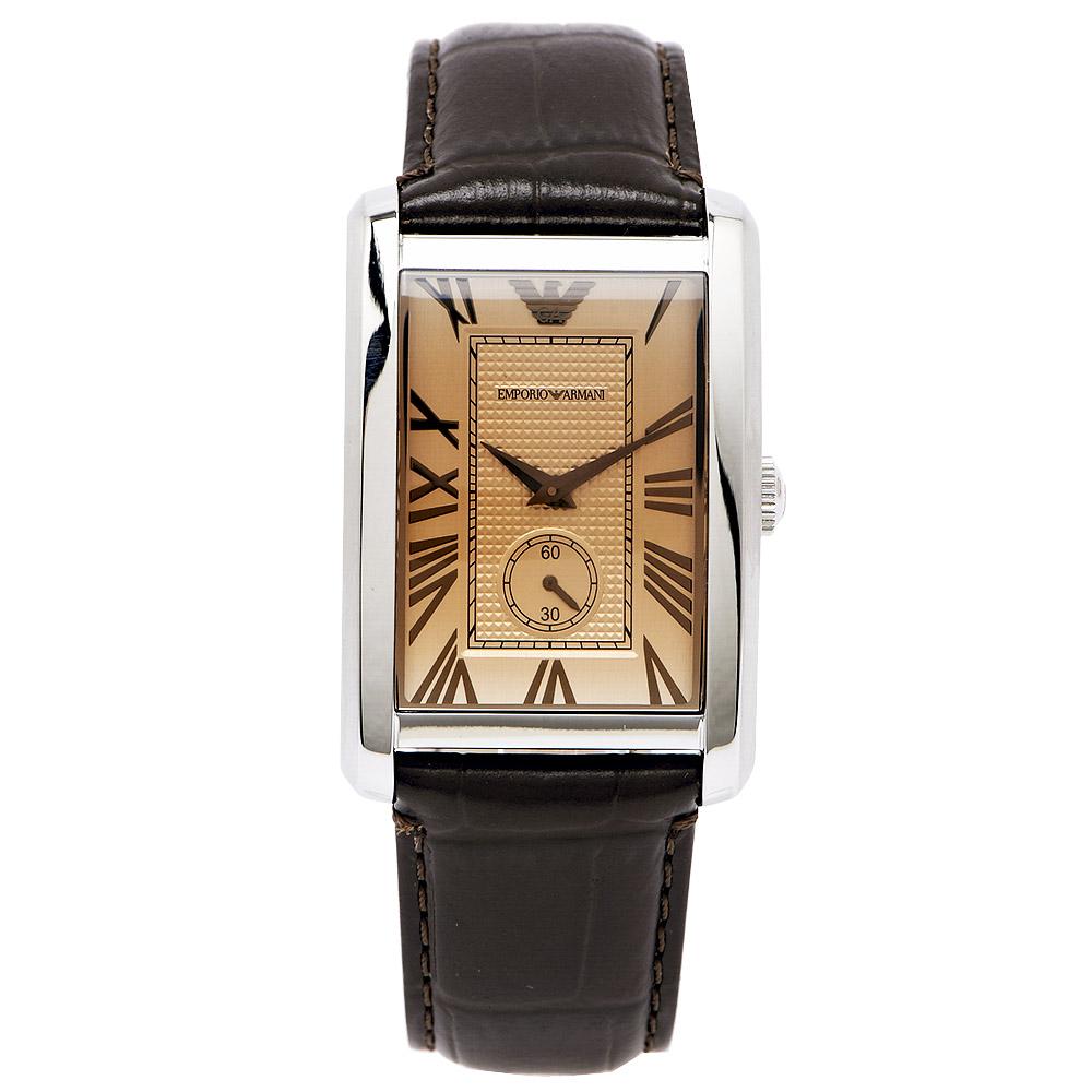 ARMANI經典都會風皮革壓紋男性手錶AR1605-香檳金色x咖啡色32mm