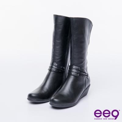 ee9 MIT經典手工~俐落優雅簡約晶鑽飾扣繫帶百搭楔型跟中筒靴-黑色