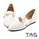 TAS 羊皮壓紋金屬風繫帶尖頭鞋-氣質白
