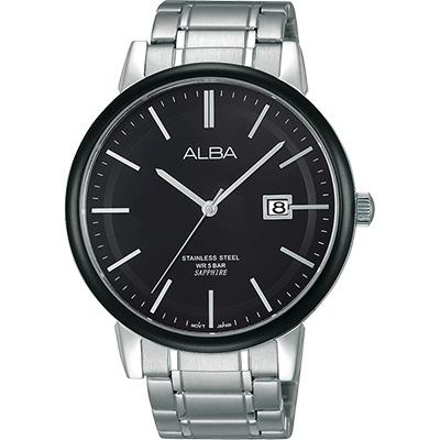 ALBA 日系紳士品味時尚腕錶(AS9905X1)-黑x銀/43mm