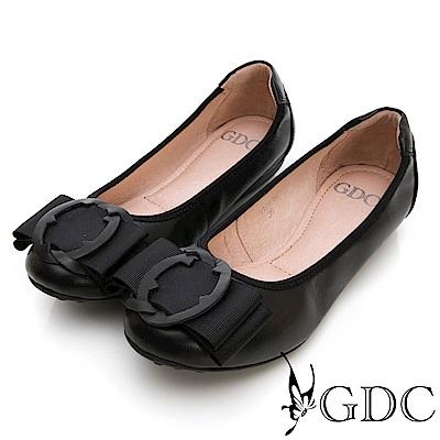 GDC-真皮知性歐風扣環霧面質感平底包鞋-黑色