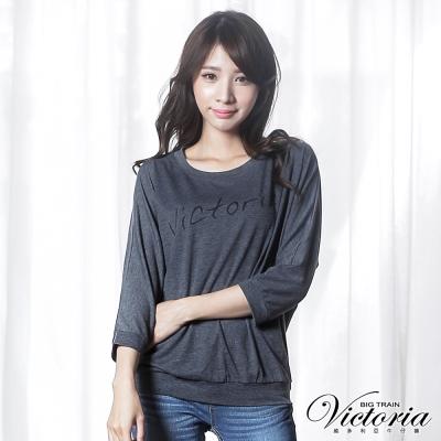 Victoria LOGO寬鬆蝙蝠七分袖T-女-深灰