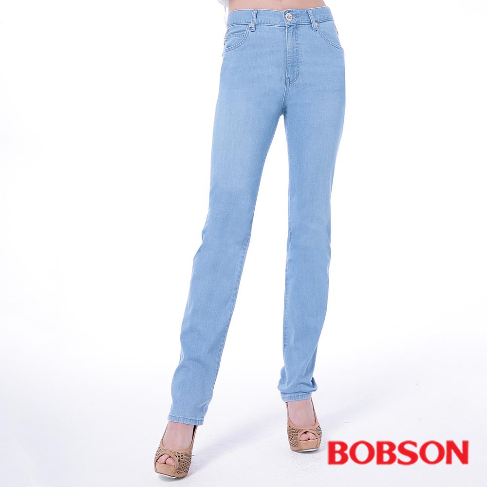 BOBSON   女款高腰膠原蛋白美肌直筒褲-淺藍