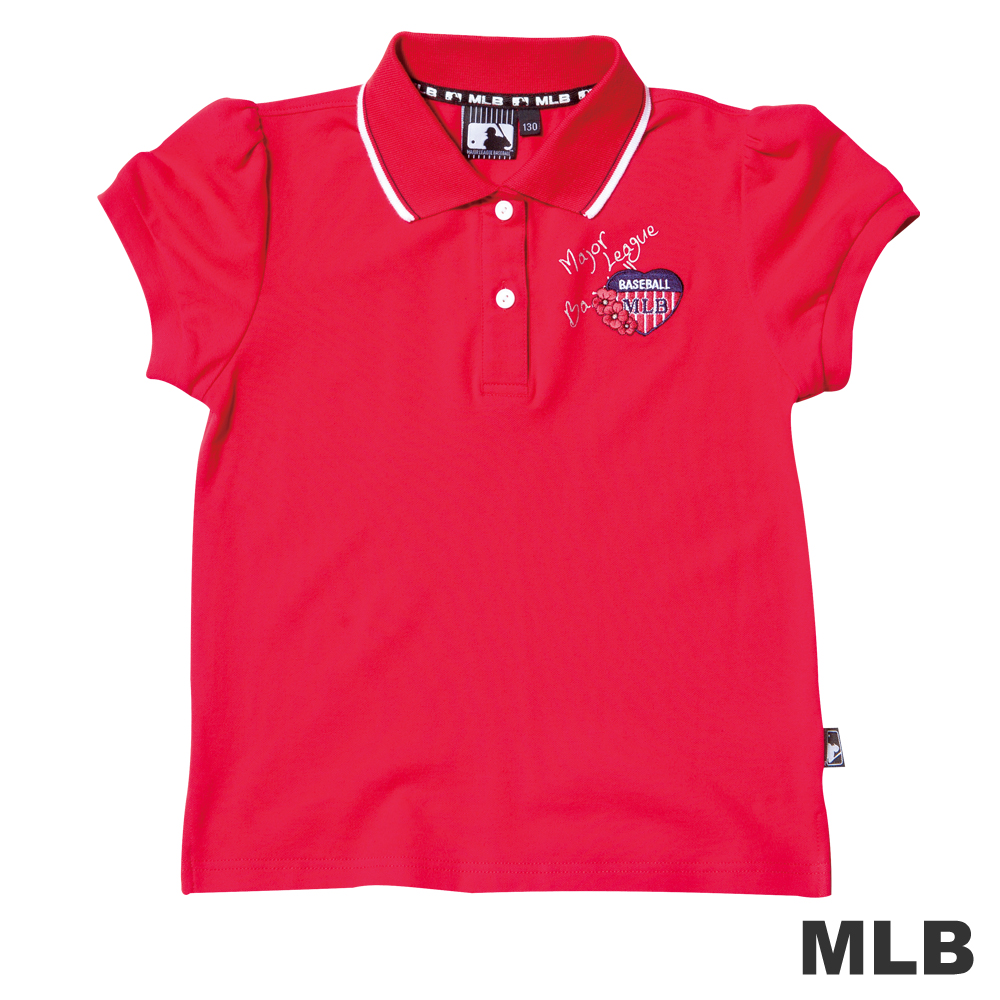 MLB-可愛小花朵電繡短袖POLO衫-紅女童