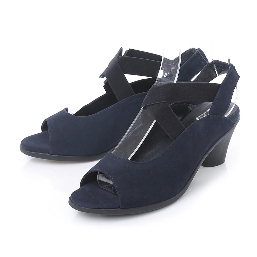 TAS 鬆緊交叉繫帶麂皮魚口粗跟涼鞋-知性藍