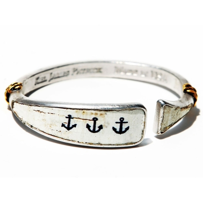 Kiel James Patrick 美國手工船錨 船錨圖騰鑲天然軟木可調節手環