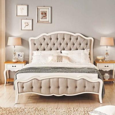 AT HOME - 黛西 6 尺法式實木象牙白雙人加大床 (不含床墊)