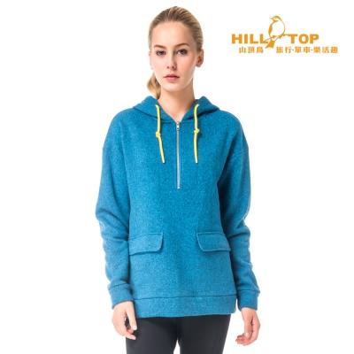 【hilltop山頂鳥】女款ZISOFIT吸濕連帽長版刷毛上衣H51FG8藍