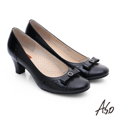 A.S.O 3E舒活寬楦 牛皮立體蝴蝶結低跟鞋 黑