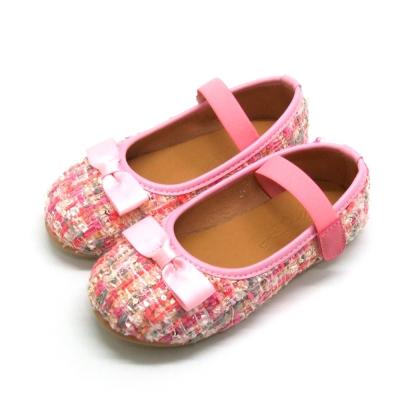 天使童鞋-D378 氣質編織格紋公主鞋(中童)-浪漫粉