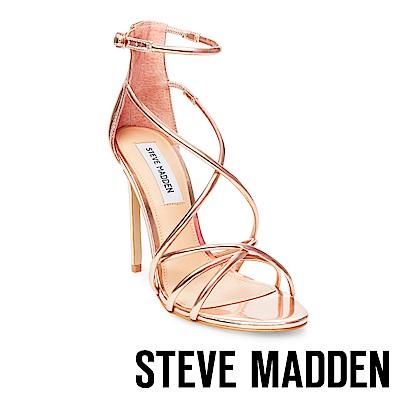 STEVE MADDEN-SATIRE 交叉細帶高跟涼鞋-玫瑰金