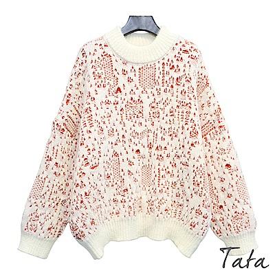 立領混色針織上衣 共二色 TATA