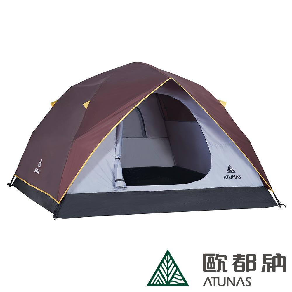 【ATUNAS 歐都納】戶外/登山/休閒4-5人單門快速露營帳篷 A-TENT1402咖啡