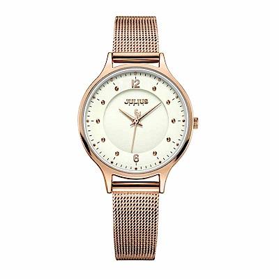 JULIUS聚利時 星夜之謎雙錶盤米蘭錶帶腕錶-玫瑰金X米色/30mm